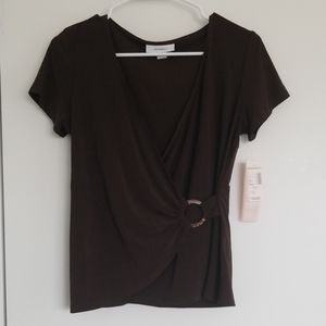 NWT - Dress Barn  brown wrap top